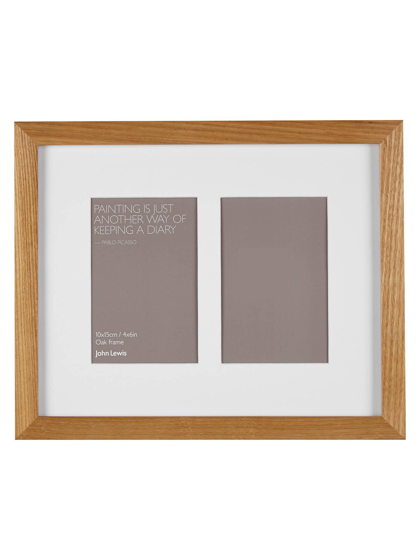 John Lewis & Partners Multi-aperture Oak Photo Frame, 2 Photo, 5 x 7 ...