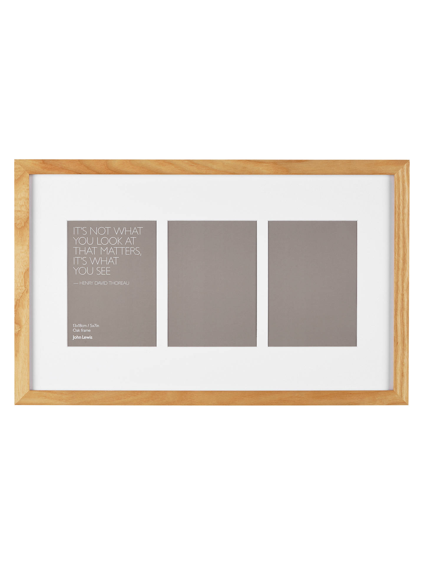 John Lewis & Partners Multi-aperture Oak Photo Frame, 3 Photo, 5 x 7 ...
