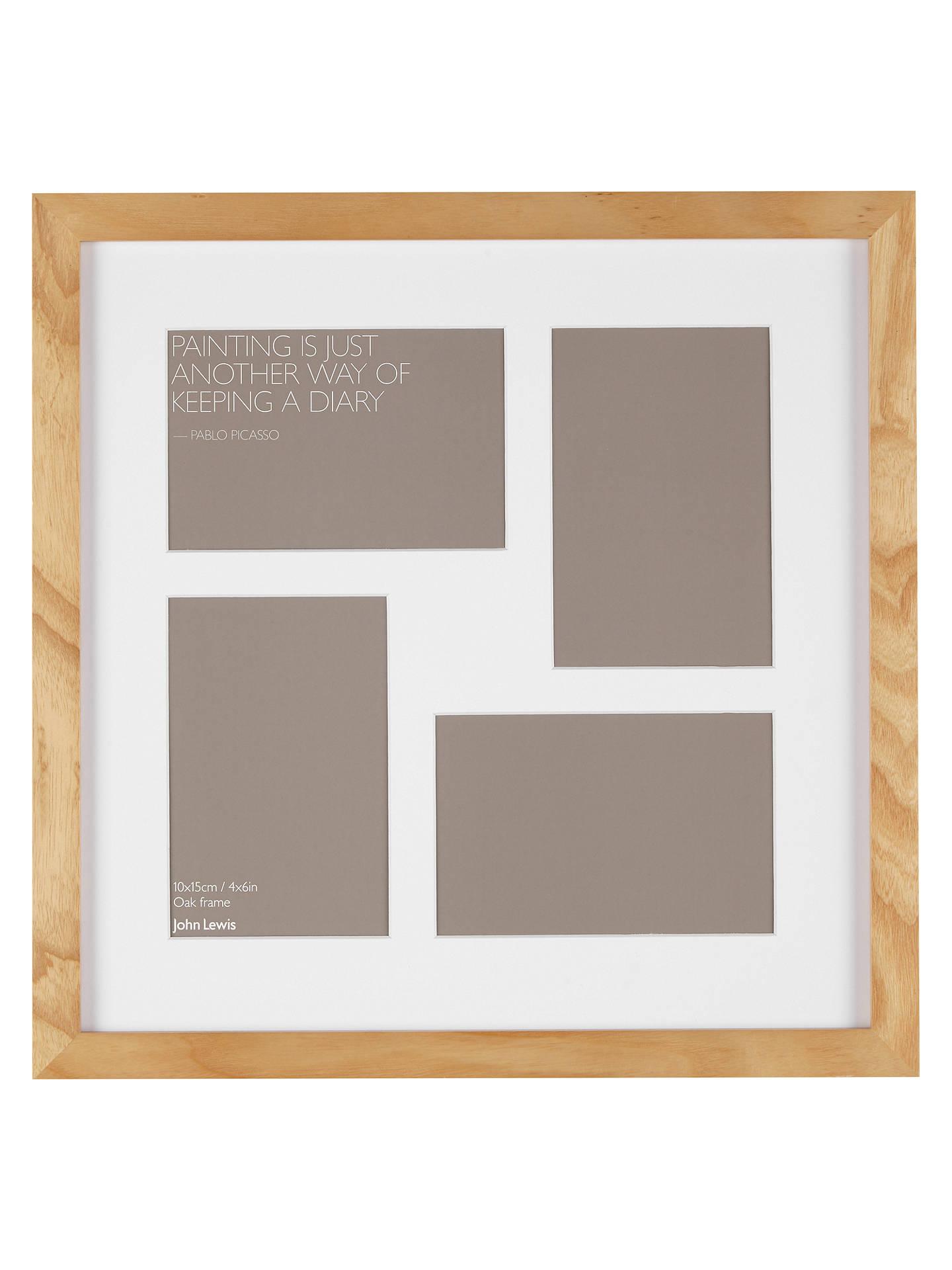 John Lewis Partners Multi Aperture Oak Square Photo Frame 4 Photo