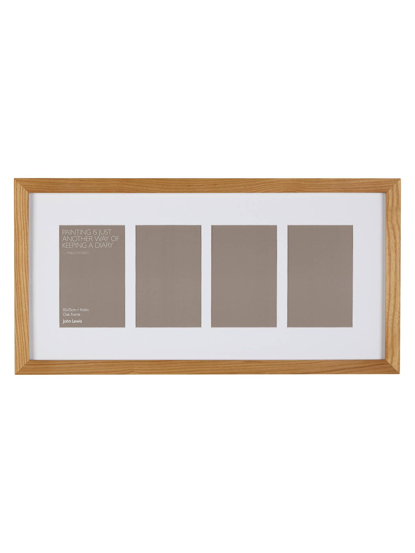 John Lewis & Partners Multi-aperture Oak Photo Frame, 4 Photo, 4 x 6 ...