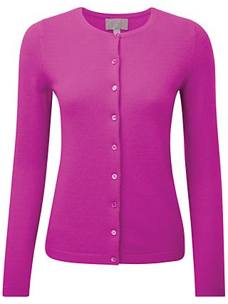 Pure Collection Nancy Crew Neck Cardigan, Vivid Magenta