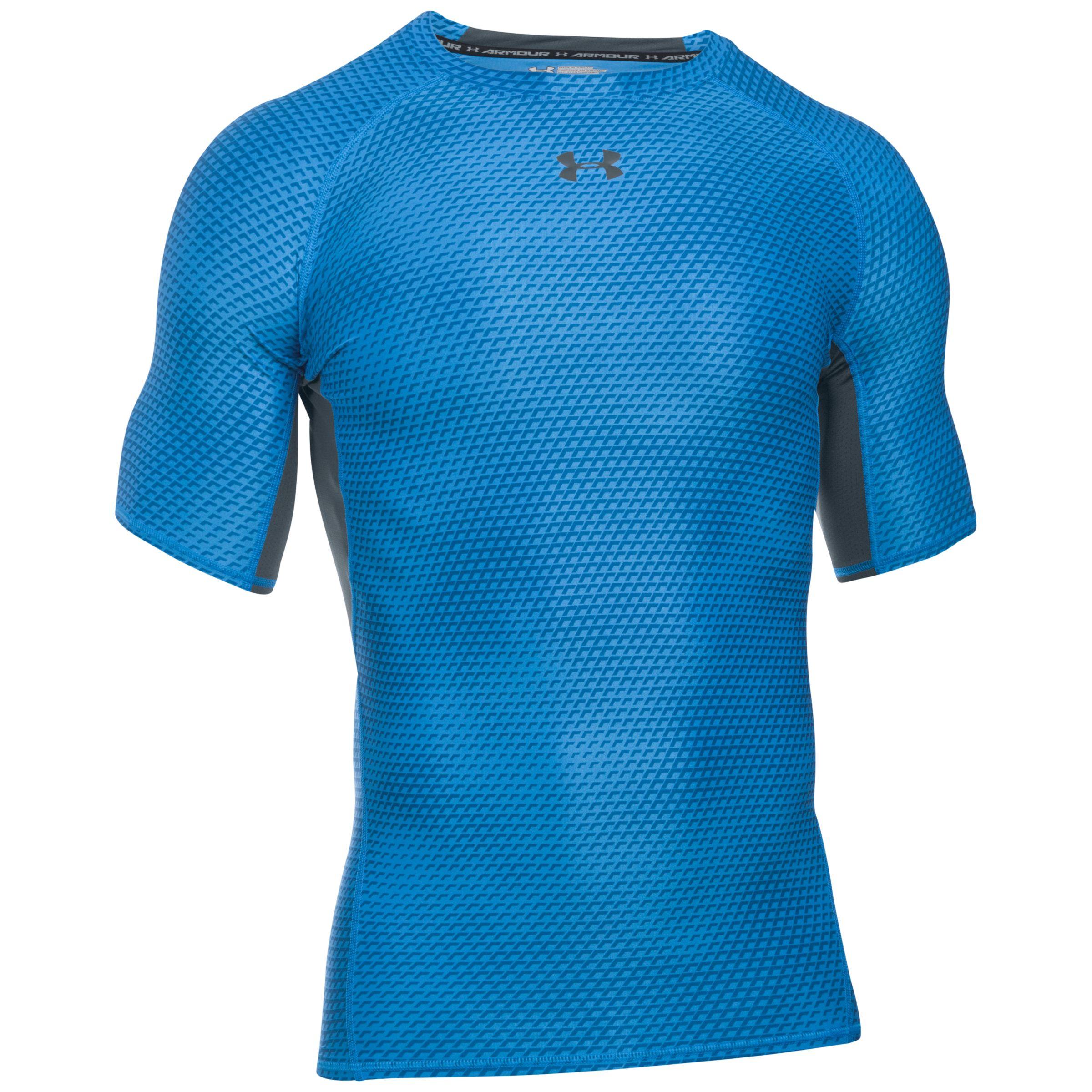 Under Armour HeatGear Printed Mens Compression Top Blue