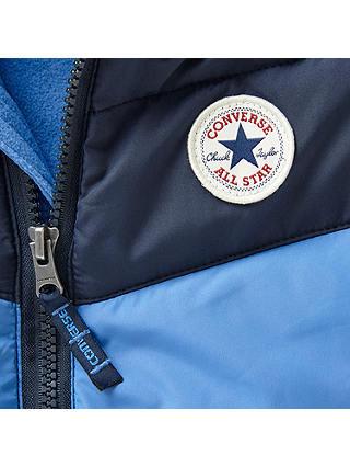 Converse Baby Colour Block Snowsuit, Oxygen Blue at John Lewis ...