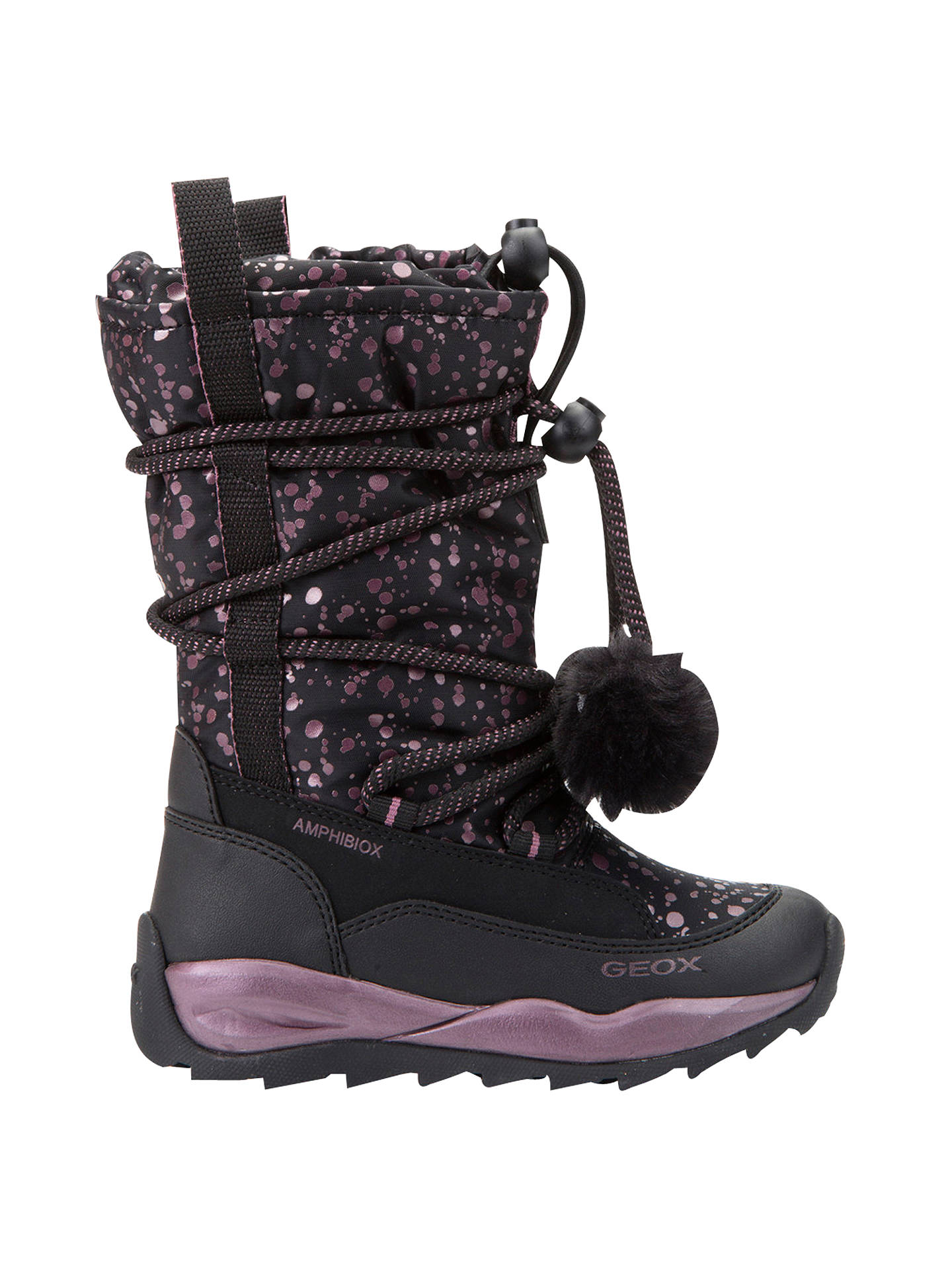 BuyGeox Children's Orizont ABX Pom Pom Lace Boots, Black/Pink, 32 Online at johnlewis.com