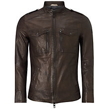 Buy BOSS Orange Jespar Leather Jacket, Dark Brown Online at johnlewis.com
