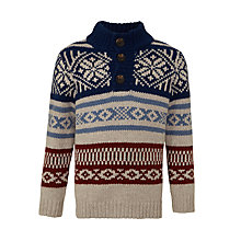 Buy John Lewis Boys' Fair Isle Button Neck Jumper, Navy Online at johnlewis.com
