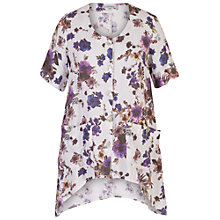 Buy Chesca Floral Printed Linen Tunic, White/Purple Online at johnlewis.com