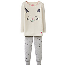 Buy Little Joule Girls' Cat Pyjamas, Cream Online at johnlewis.com