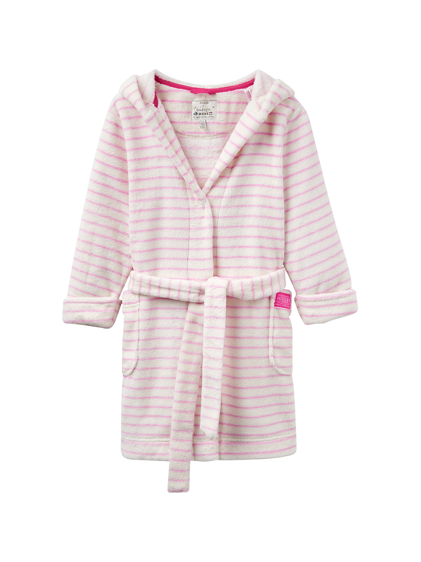Little Joule Children\'s Teddy Striped Dressing Gown, Cream/Pink at ...