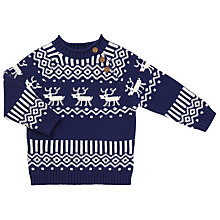 Buy John Lewis Baby Reindeer Jumper, Navy Online at johnlewis.com