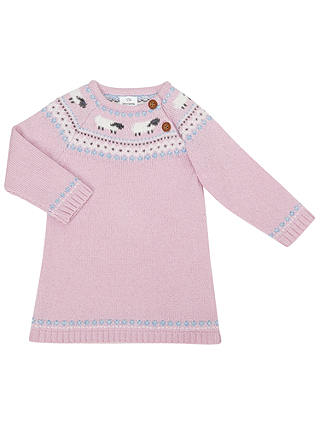 Buy John Lewis Baby Knitted Fair Isle Sheep Dress, Pink, 9-12 months Online at johnlewis.com