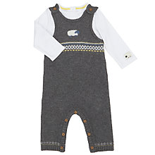 Buy John Lewis Baby Luxury Knit Sheep Dungaree Set, Grey Online at johnlewis.com