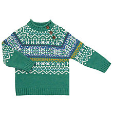 Buy John Lewis Baby Pie Crust Fair Isle Jumper, Green/White Online at johnlewis.com