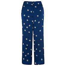 Buy Whistles Edwina Print Silk Trousers, Navy Online at johnlewis.com