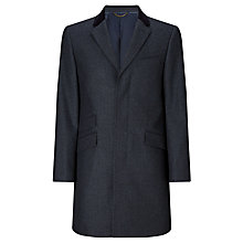 Buy John Lewis Herringbone Covert Tailored Overcoat, Navy Online at johnlewis.com