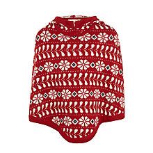 Buy John Lewis Girls' Fair Isle Poncho, Red Online at johnlewis.com