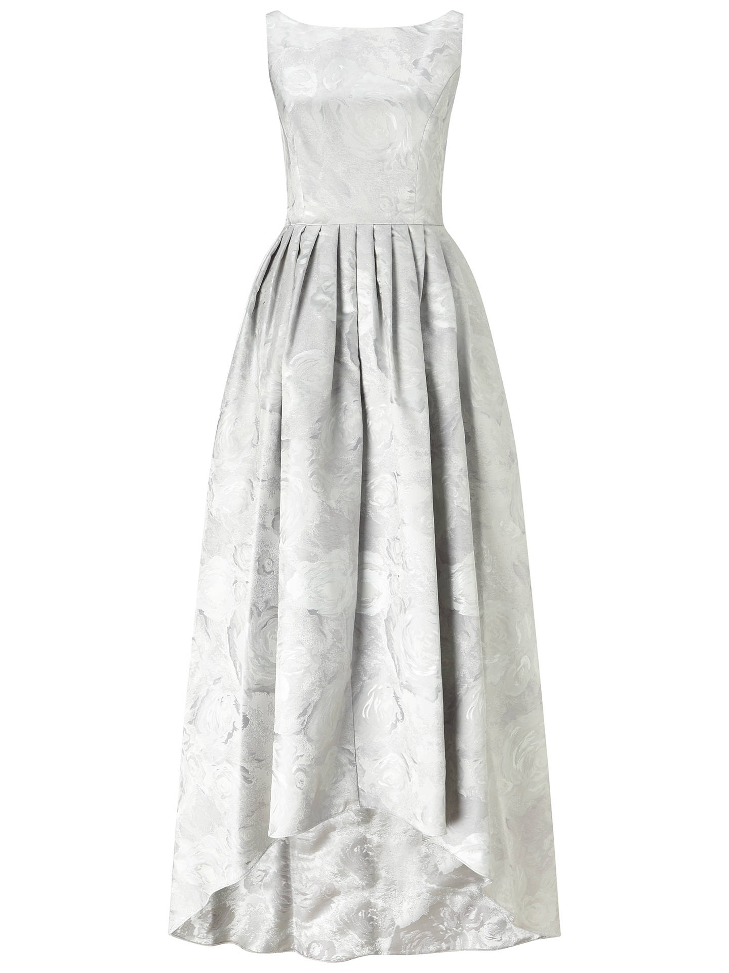 Adrianna Papell Sleeveless Jacquard High Low Ballgown Silver At John Lewis Partners