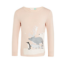 Buy John Lewis Girls' Sparkle Polar Bear T-Shirt, Pink Online at johnlewis.com