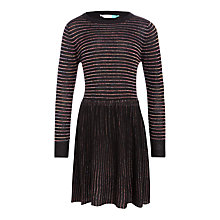 Buy John Lewis Girls' Sparkle Stripe Knitted Dress, Black Online at johnlewis.com