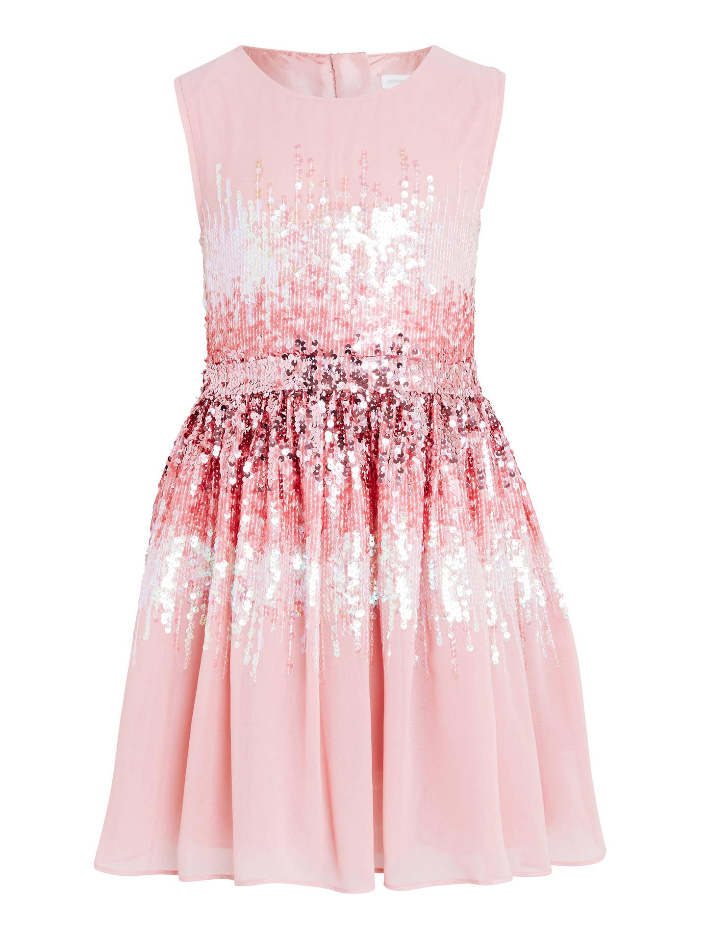 45fe458a88 Buy John Lewis Girls' Sequin Dress, Pink, 3 years Online at johnlewis.