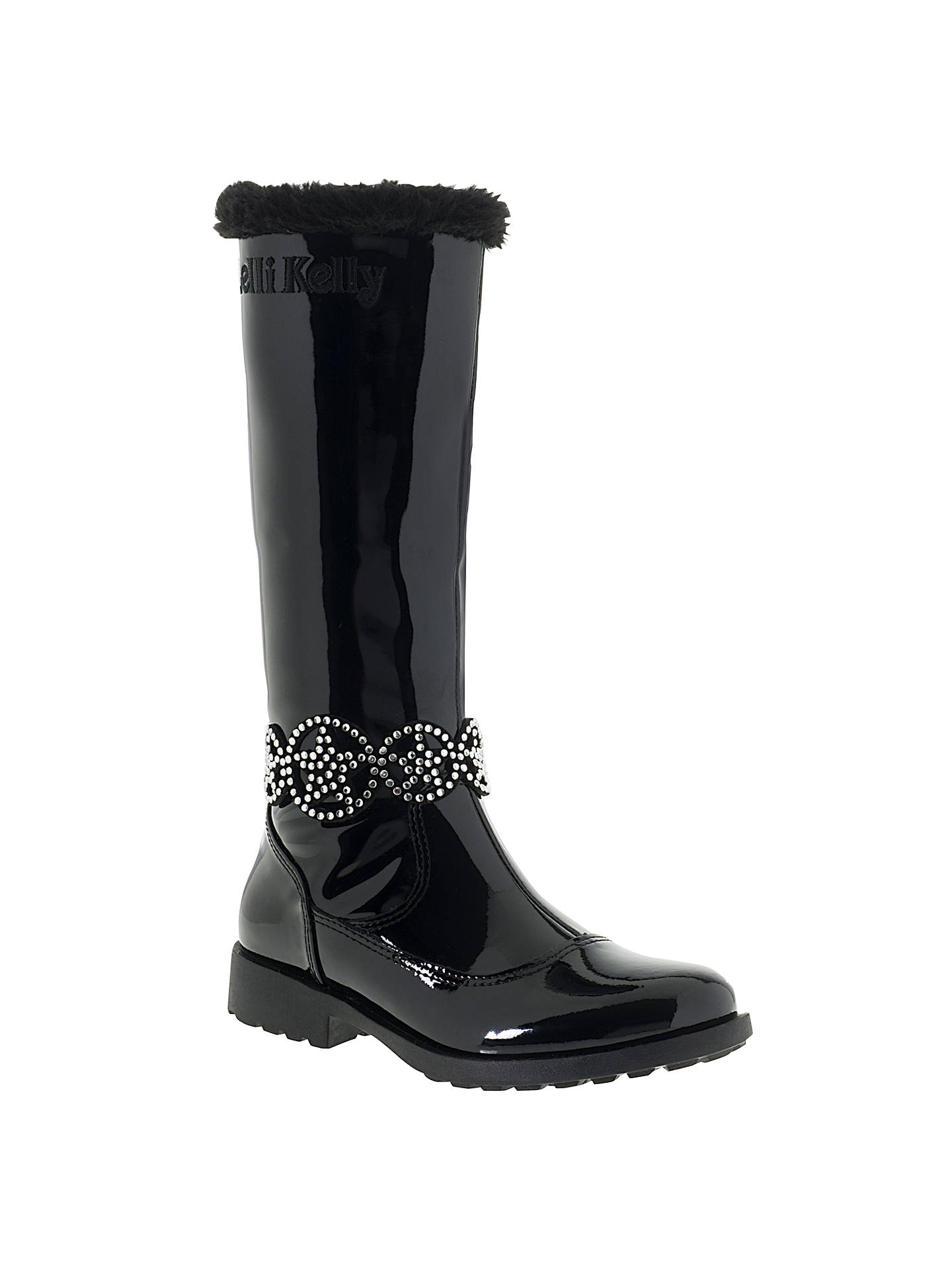 BuyLelli Kelly Children's Ann High Vernice Faux Fur Lined Boots, Black Patent, 28 Online at johnlewis.com