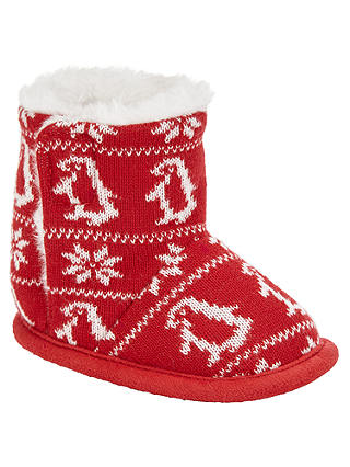 Buy John Lewis & Partners Baby Fair Isle Booties, Red/White, 0-3 months Online at johnlewis.com
