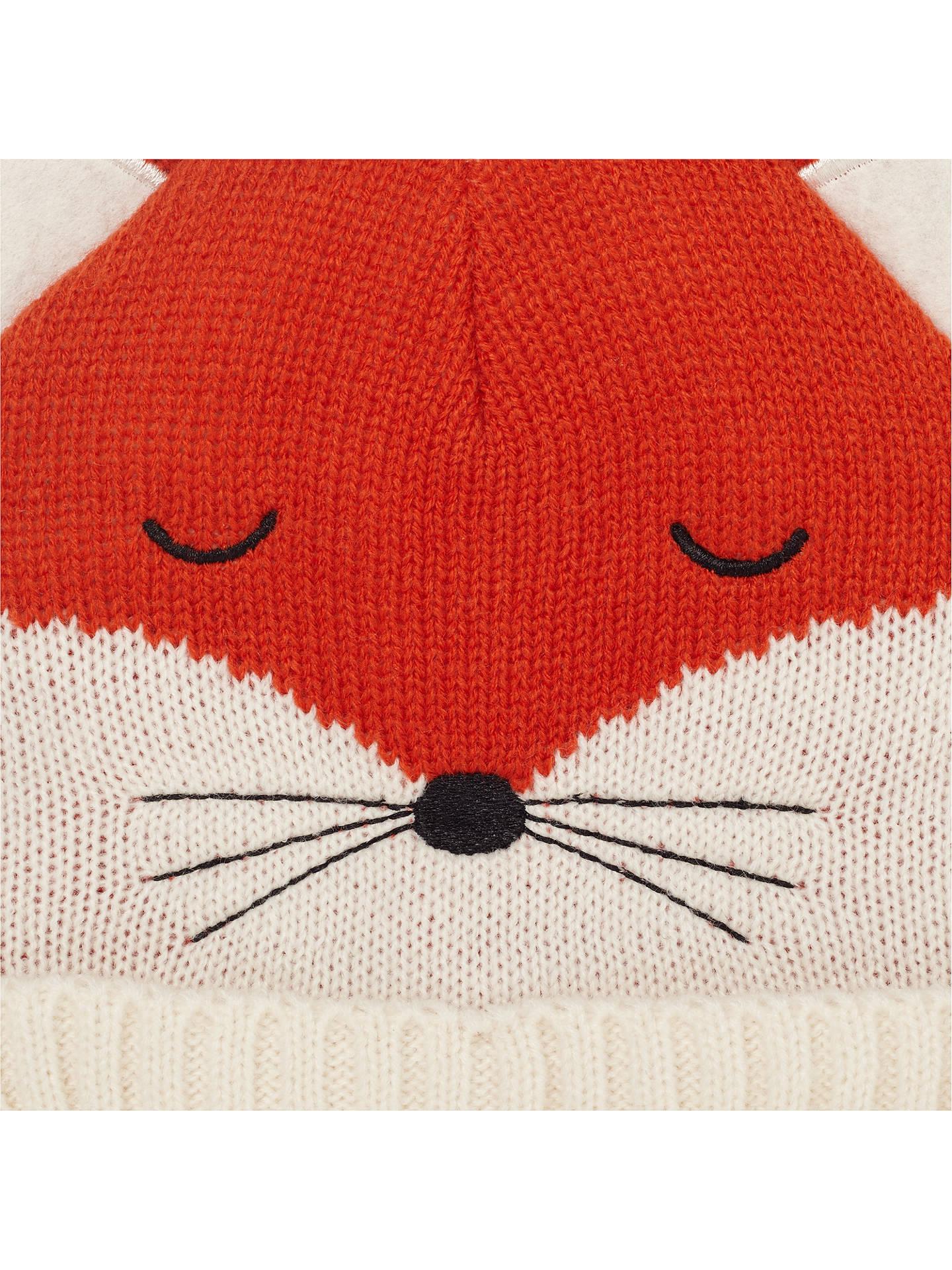 6f379e46d John Lewis & Partners Baby Knitted Fox Character Hat, Orange at John ...