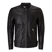 Buy Diesel L-Marton Leather Jacket, Black Online at johnlewis.com