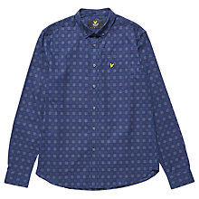 Buy Lyle & Scott Long Sleeve Textured Check Shirt, Navy Online at johnlewis.com