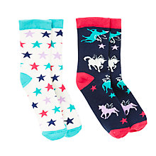Buy John Lewis Girls' Unicorn Star Thermal Socks, Pack of 2, Multi Online at johnlewis.com