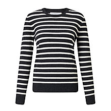 Buy Collection WEEKEND by John Lewis Luxury Cashmere Stripe Jumper, Black/White Online at johnlewis.com