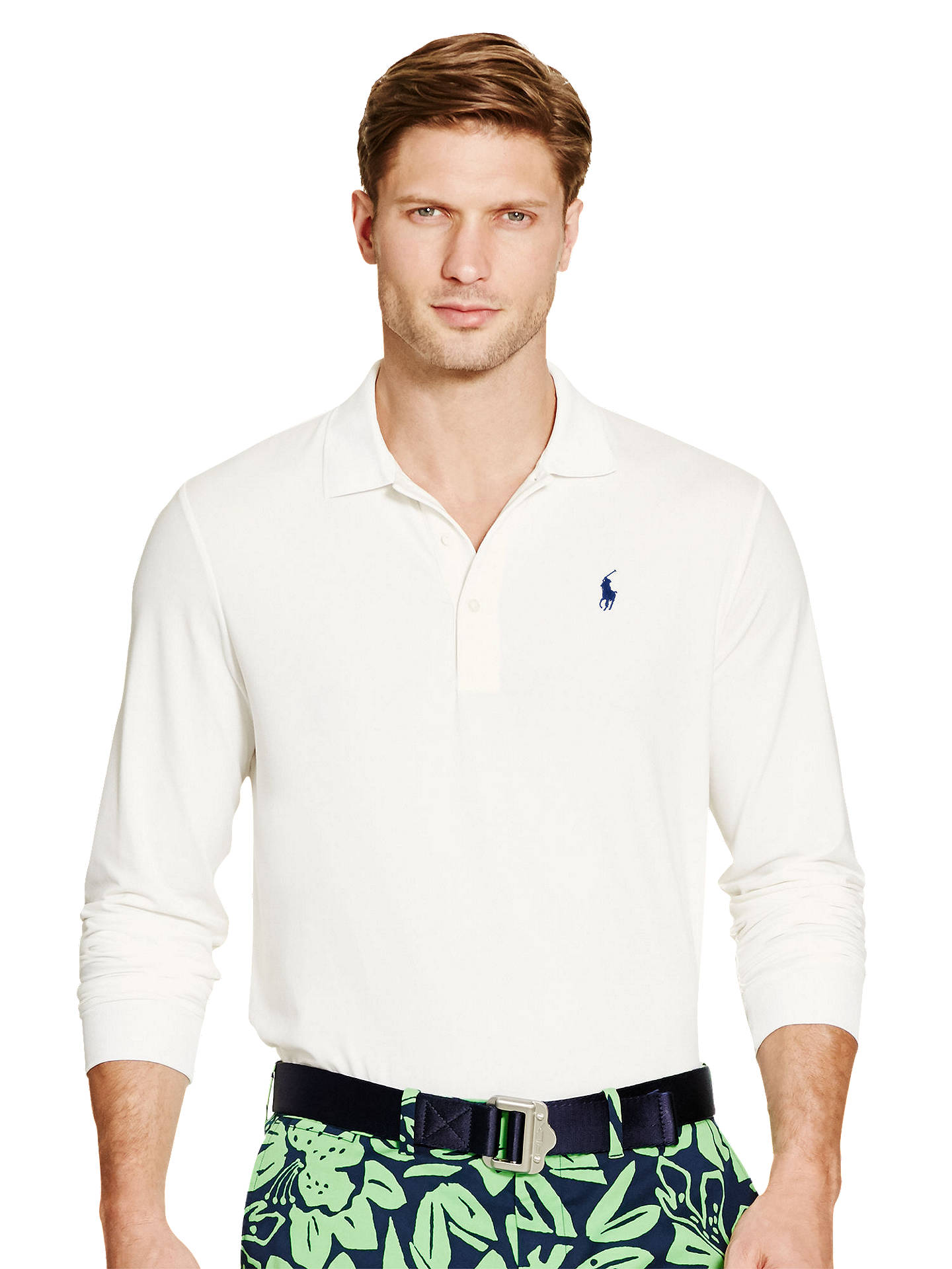 8f673021d50bc9 Buy Polo Golf by Ralph Lauren Long Sleeve Pro Fit Polo Shirt, White, XXL ...