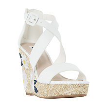 Buy Dune Kesha Wedge Heeled Sandals, White Online at johnlewis.com