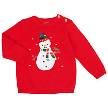 Buy John Lewis Baby Snowman Christmas Jumper, Red Online at johnlewis.com