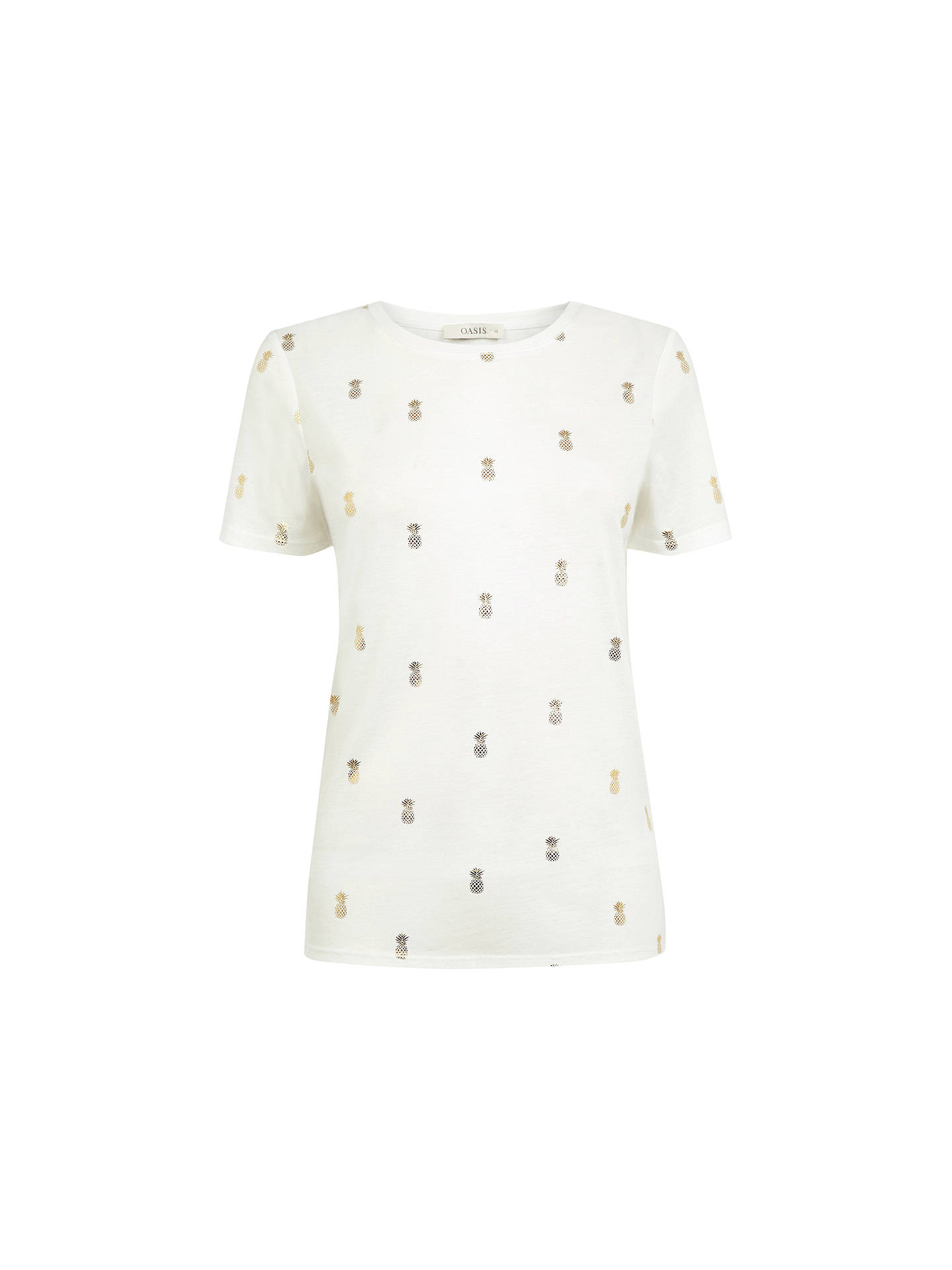 a5478b965ba9 Buy Oasis Pineapple Foil T-Shirt, White, XS Online at johnlewis.com ...