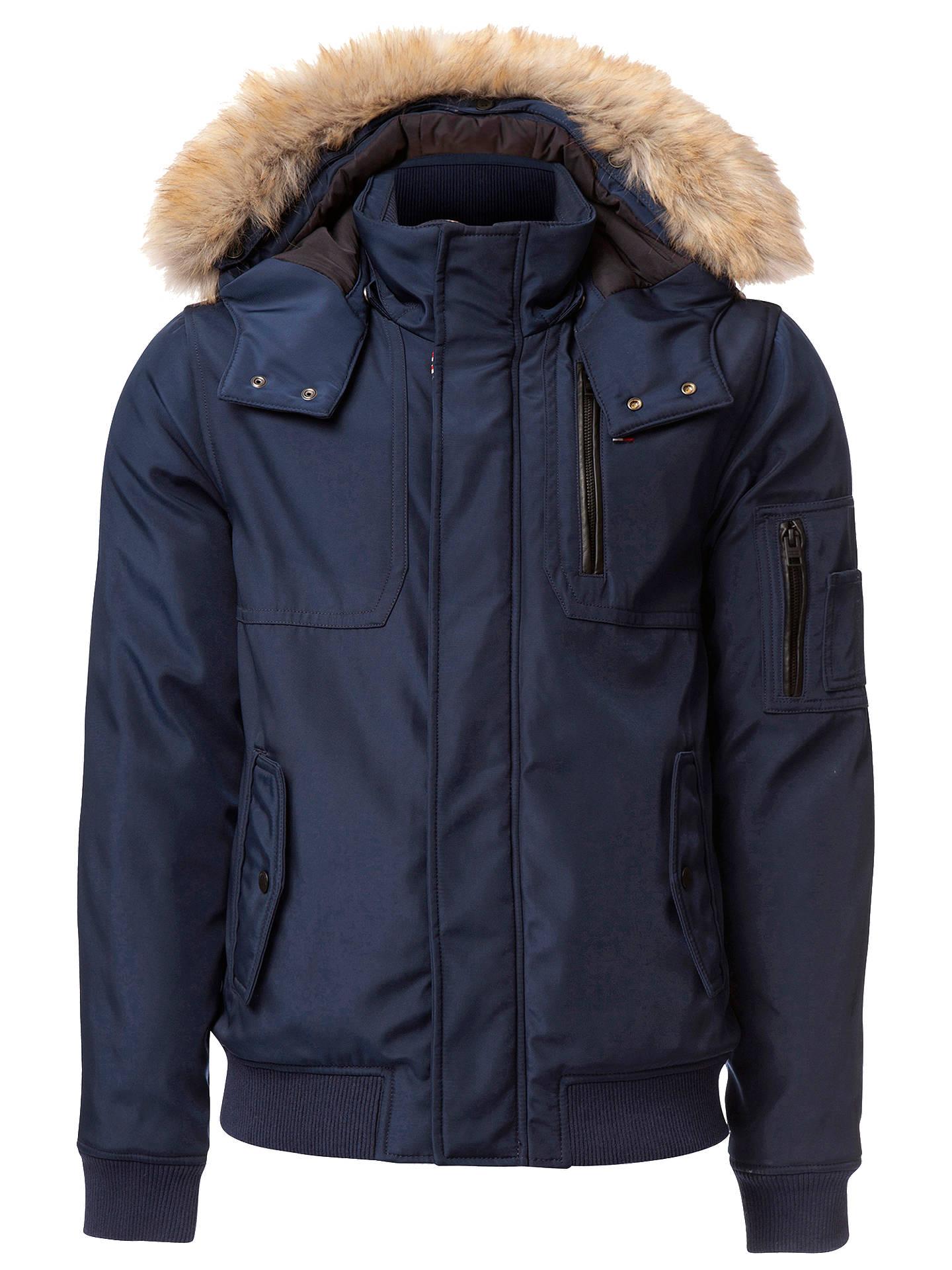 5dfceec3 Buy Tommy Hilfiger Cotton-Blend Hooded Bomber Jacket, Black Iris, S Online  at ...