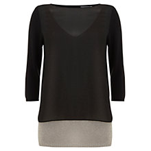 Buy Mint Velvet Double Layered Knit Cardigan, Black/Chalk Online at johnlewis.com