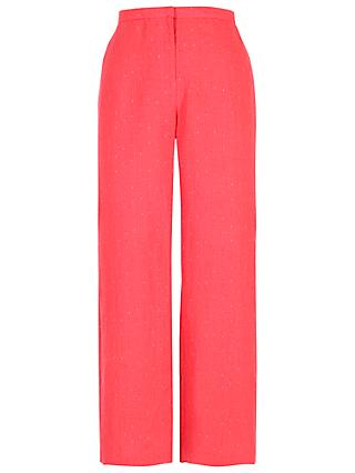 Chesca Linen Pinstripe Trousers, Coral
