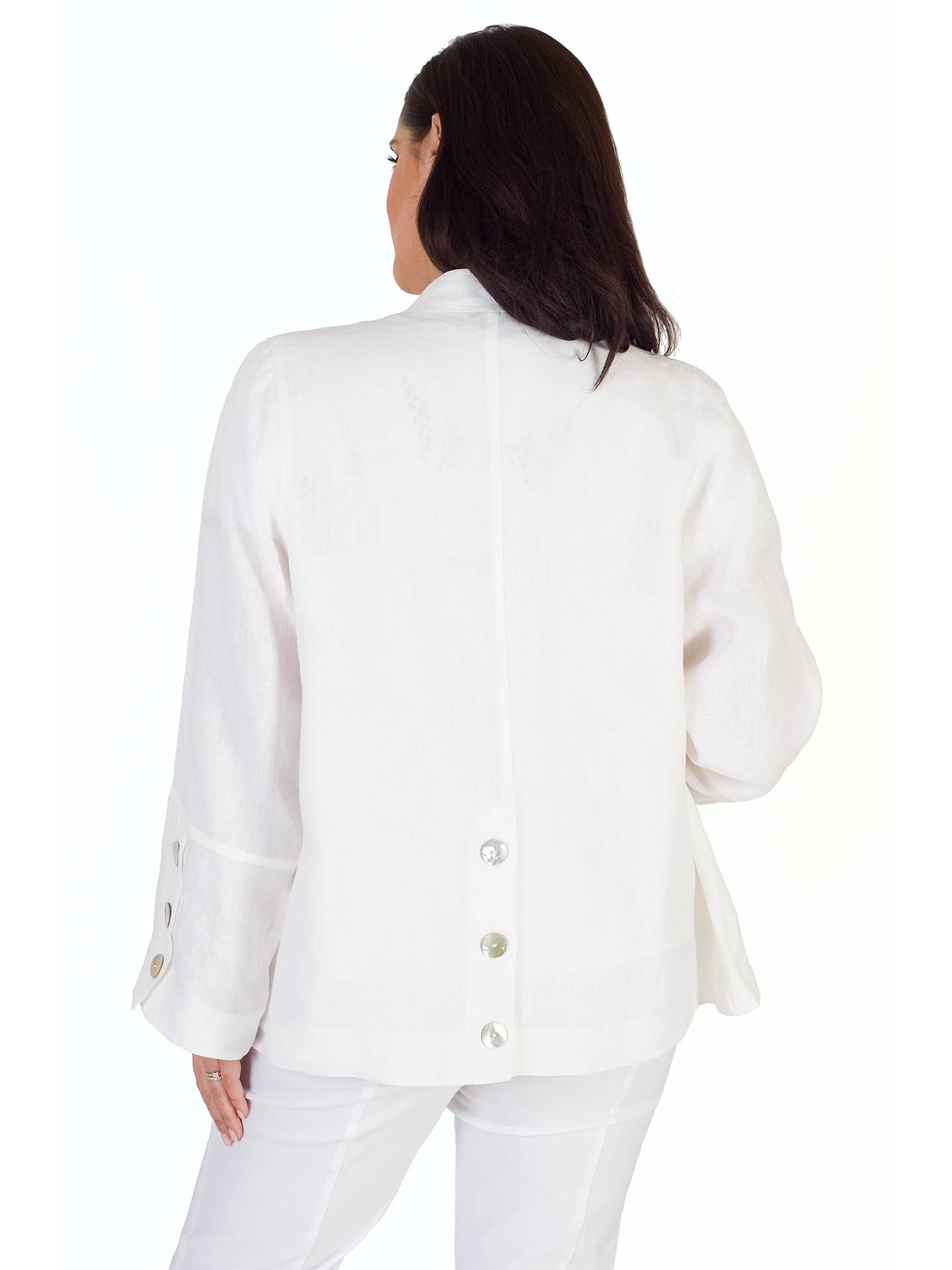 BuyChesca Linen Button Trim Shrug, White, 12-14 Online at johnlewis.com