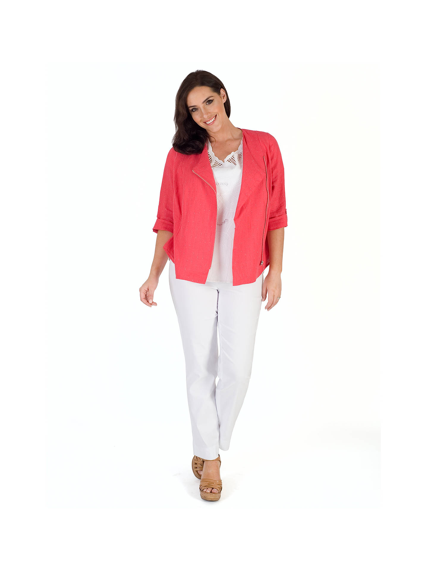 Buy Chesca Tab Trim Pinstripe Jacket, Coral, 12-14 Online at johnlewis.com