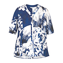 Buy Chesca Abstract Block Flower Print Jacket, Blue/White Online at johnlewis.com