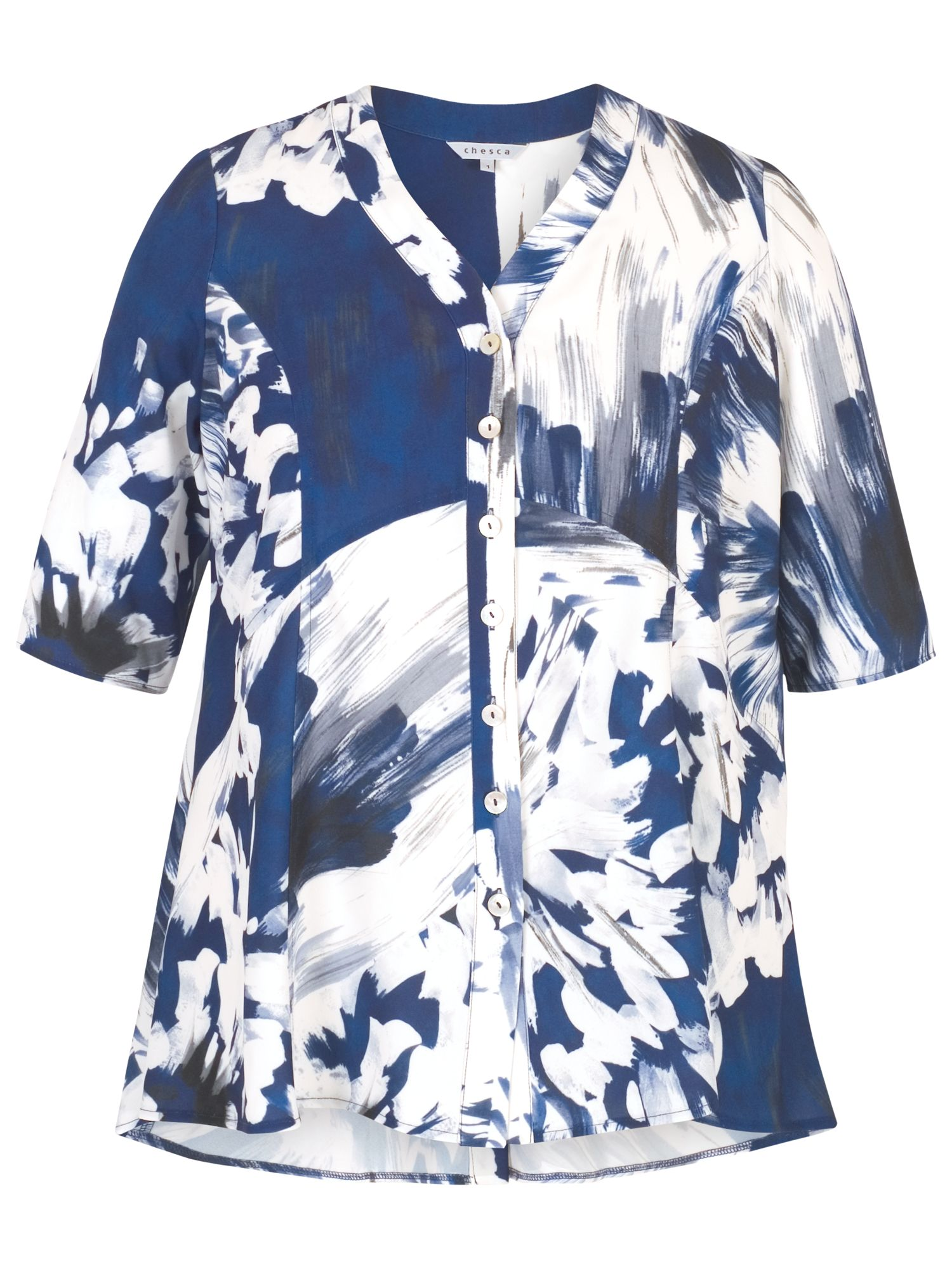 Chesca Chesca Abstract Block Flower Print Jacket, Blue/White