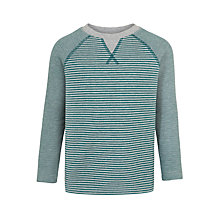 Buy John Lewis Boys' Double Faced Striped T-Shirt, Green/Grey Online at johnlewis.com