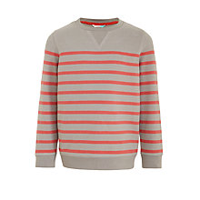Buy John Lewis Boys' Stripe Crew Jumper, Grey/Red Online at johnlewis.com