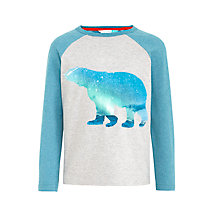 Buy John Lewis Boys' Graphic Polar Bear T-Shirt, Grey/Blue Online at johnlewis.com
