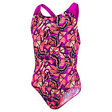 Buy Speedo Allover Splashback Girls' Swimsuit, Purple/Multi Online at johnlewis.com
