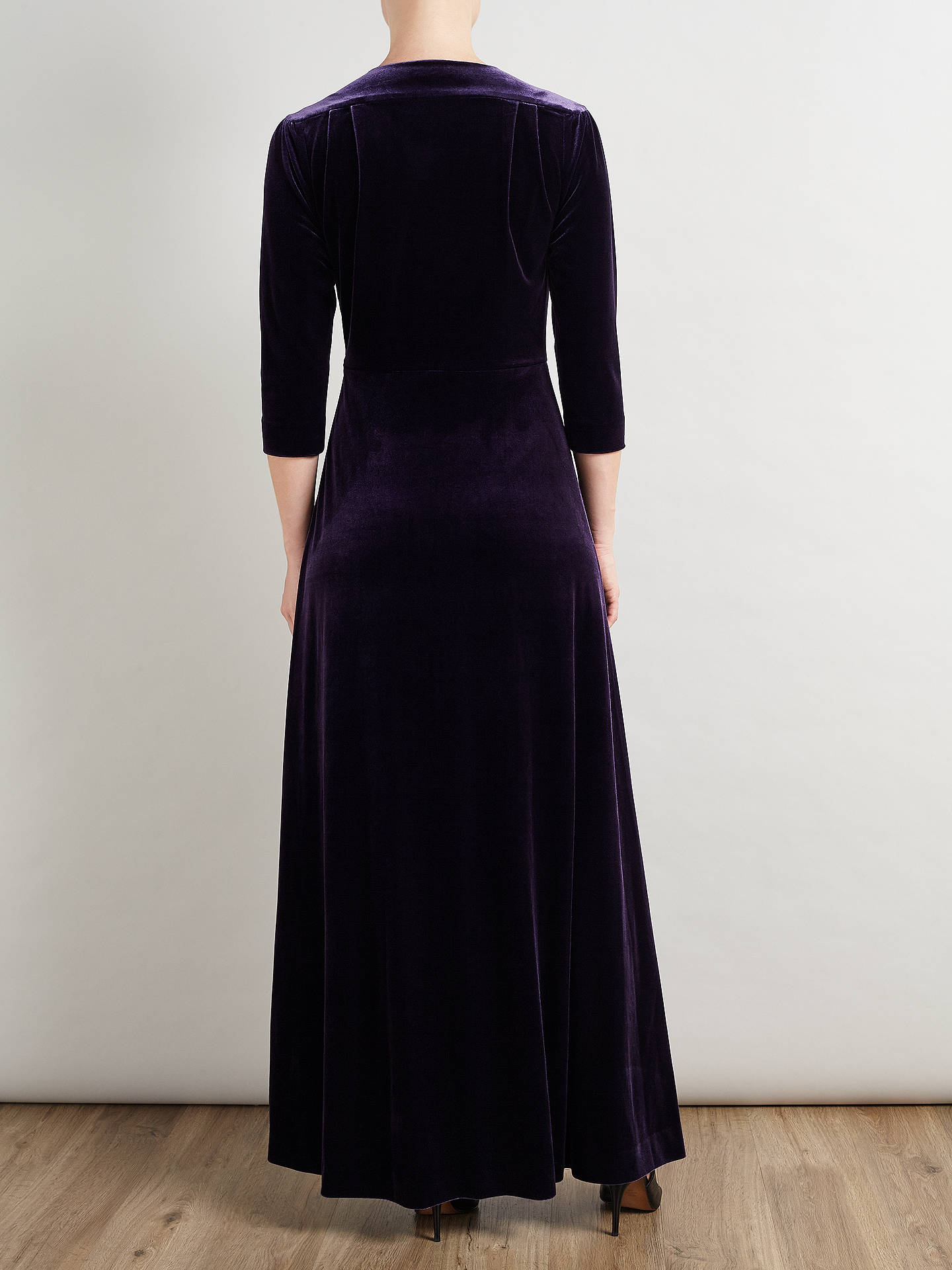 Bruce by Bruce Oldfield Velvet Maxi Dress, Deep Purple at John Lewis ...