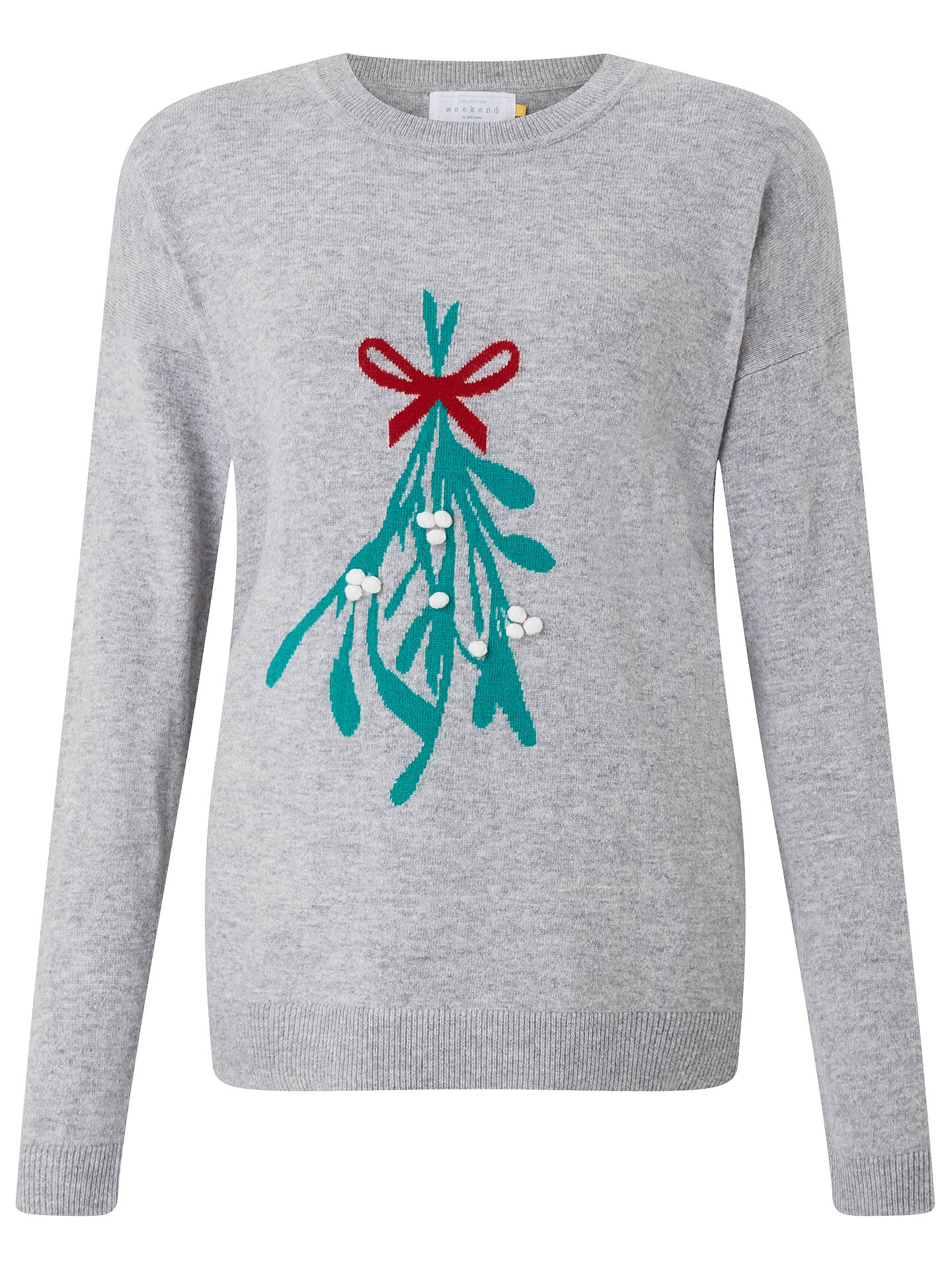 BuyCollection WEEKEND by John Lewis Mistletoe Intarsia Jumper, Grey, 8 Online at johnlewis.com