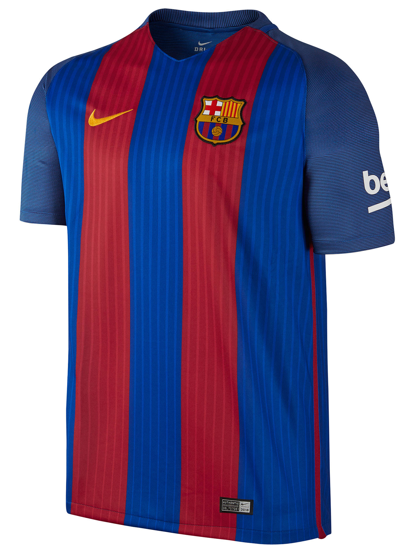 BuyNike Barcelona FC Home Football Shirt, Blue/Red, S Online at johnlewis.com