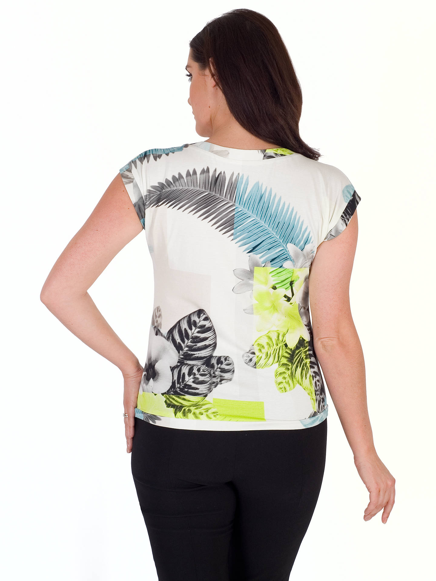 BuyChesca Fern And Floral Jersey Top, Turquoise/Lime, 20-22 Online at johnlewis.com
